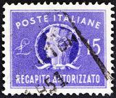 италия - около 1949: марку, напечатанную в италии показывает italia turrita, около 1949. — Стоковое фото