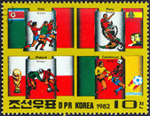 """NORTH KOREA - CIRCA 1982: A stamp printed in North Korea from the """"Football World Cup - Spain """" 3rd issue shows Group 1 Countries, circa 1982. — Stock Photo"""