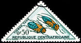 "CENTRAL AFRICAN REPUBLIC - CIRCA 1962: A stamp printed in Central African Republic from the ""Insects "" issue shows Sternotomis gama, circa 1962. — Stock Photo"