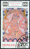 "MONGOLIA - CIRCA 1989: A stamp printed in Mongolia from the ""Mural Paintings. Buddhas "" issue shows Damdin Sandub, 19th century, circa 1989. — Stock Photo"