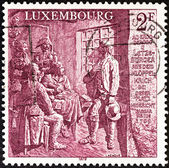 "LUXEMBOURG - CIRCA 1979: A stamp printed in Luxembourg from the ""180th Anniversary of the Kleppelkrich "" issue shows a monument by Edmond Lux of Diekirch at the site of the executions, circa 1979. — Stock Photo"
