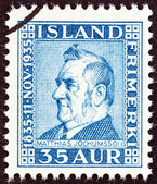 ICELAND - CIRCA 1935: A stamp printed in Iceland issued for the 100th anniversary of the birth of Matthias Jochumsson shows poet Matthias Jochumsson, circa 1935. — Stock Photo
