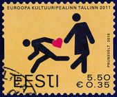 "ESTONIA - CIRCA 2010: A stamp printed in Estonia from the ""Talinn - European Capital of Culture "" issue shows Lost in Tallinn, circa 2010. — Stock Photo"