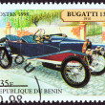 Постер, плакат: BENIN CIRCA 1998: A stamp printed in Benin from the Motor Cars issue shows Bugatti 13 Torpedo 1910 circa 1998