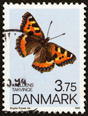 "DENMARK - CIRCA 1993: A stamp printed in Denmark from the ""Butterflies "" issue shows  Small Tortoiseshell, circa 1993. — Foto de Stock"