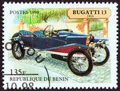 "BENIN - CIRCA 1998: A stamp printed in Benin from the ""Motor Cars "" issue shows Bugatti 13 Torpedo, 1910, circa 1998. — Foto de Stock"
