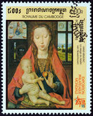 "CAMBODIA - CIRCA 1998: A stamp printed in Cambodia from the ""Italia 98 International Stamp Exhibition, Milan. Paintings "" shows Madonna of Martin van Niuwenhoven (Hans Memling), circa 1998. — Stock Photo"