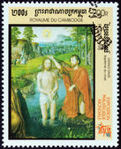 "CAMBODIA - CIRCA 1998: A stamp printed in Cambodia from the ""Italia 98 International Stamp Exhibition, Milan. Paintings "" shows Baptism of Christ (Gerard David), circa 1998. — Stock Photo"