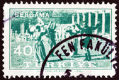 "TURKEY - CIRCA 1957: A stamp printed in Turkey from the ""Bergama Fair "" issue shows folk dancing, circa 1957. — Stock Photo"