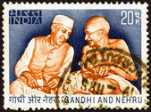 INDIA - CIRCA 1973: A stamp printed in India shows Gandhi and Nehru, circa 1973. — Stock Photo
