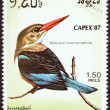 "KAMPUCHEA - CIRCA 1987: A stamp printed in Kampuchea from the ""Capex'87 International Stamp Exhibition, Toronto. Birds "" issue shows Grey-headed kingfisher (Halcyon leucocephala), circa 1987. — Stock Photo"
