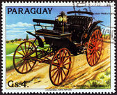 """PARAGUAY - CIRCA 1983: A stamp printed in Paraguay from the """"Antique Automobiles """" issue shows Benz Victory, 1891-92, circa 1983. — ストック写真"""