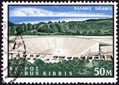 """CYPRUS - CIRCA 1964: A stamp printed in Cyprus from the """"400th birth anniversary of Shakespeare"""" issue shows theatre, Salamis, circa 1964. — Stock Photo"""