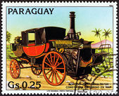 """PARAGUAY - CIRCA 1983: A stamp printed in Paraguay from the """"Antique Automobiles """" issue shows Bordino Steam Carriage, 1854, circa 1983. — Stock Photo"""