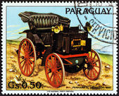 """PARAGUAY - CIRCA 1983: A stamp printed in Paraguay from the """"Antique Automobiles """" issue shows Panhard-Levassor, 1892, circa 1983. — Stock Photo"""