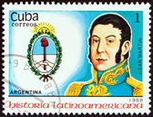 "CUBA - CIRCA 1988: A stamp printed in Cuba from the ""Latin American History (3rd series)"" issue shows Coat of Arms and Jose de San Martin (Argentina), circa 1988. — Stock Photo"