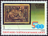 "CUBA - CIRCA 1988: A stamp printed in Cuba from the ""Latin American History (3rd series)"" issue shows 1944 10c. Discovery of Tobacco stamp, circa 1988. — Stock Photo"