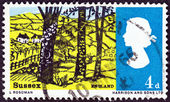 "UNITED KINGDOM - CIRCA 1966: A stamp printed in United Kingdom from the ""Landscapes "" issue shows view near Hassocks, Sussex, circa 1966. — Stock Photo"