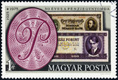 HUNGARY - CIRCA 1976: A stamp printed in Hungary issued for the 50th Anniversary of the Hungarian Bank Note Corporation shows banknotes of 1925 and 1975, circa 1976. — Stock Photo