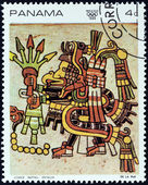 "PANAMA - CIRCA 1968: A stamp printed in Panama from the ""1968 Summer Olympics, Mexico City "" issue shows Detail from the ""Codex Nutall"", circa 1968. — Stock Photo"