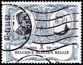 """BELGIUM - CIRCA 1980: A stamp printed in Belgium from the """"150th anniversary of Belgian Independence """" 2nd issue shows King Leopold II and Queen Marie Henriette, circa 1980. — Stock Photo"""