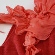 Stock Photo: Red silk scarf