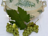 Grapes and old crockery — Stock Photo
