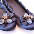Ballet flats with glass ornaments — Stock Photo