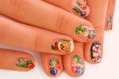 Christmas manicure — Stock Photo