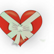 Red heart with white bow — Stock Photo #19804621