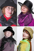 Fashion hats and scarves — Stock Photo