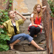 Royalty-Free Stock Photo: Teenage girls on the ruins