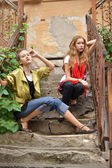 Teenage girls on the ruins — Stock Photo