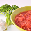 Ukrainian borsch, garlic and parsley - Stock Photo