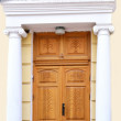 Architectural fragment of an old house door — Stock Photo