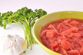 Ukrainian borsch, garlic and parsley — Stock Photo