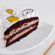 Chocolate cake with whipped cream — Foto de Stock