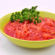 Ukrainian borsch, garlic and parsley - ストック写真