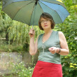 Frightened woman under an umbrella — Stock Photo