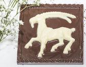 Zwarte en witte chocolade met het dierenriemteken — Stockfoto