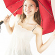 Girl and red umbrella — Stock Photo
