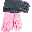 Pink and black leather gloves — Stock Photo