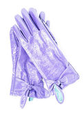 Purple patent leather gloves on an isolated background — 图库照片
