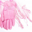 Stock Photo: White pink scarf and pink leather gloves