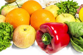 Fruits vegetables and herbs on the table — Stock Photo