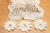 Crocheted flowers — Stock Photo