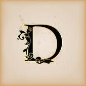Vintage initials letter d — Stock Vector