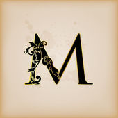 Vintage initials letter m — Stock Vector