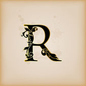 Vintage initials letter r — Stock Vector
