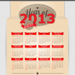 Retro design calendar for 2013. — Stock Vector #12802357
